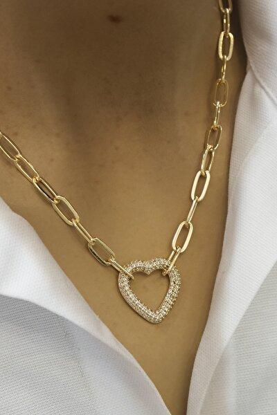 Kadın Taşlı Kalp Figürlü Altın Renkli Zincir Kolyealtın