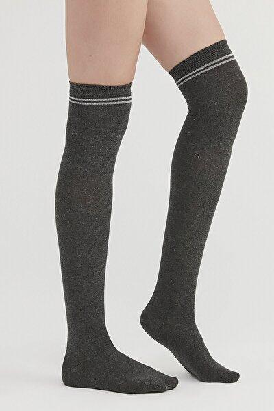 Kadın Gri Smoke Melanj Chic Dizüstü Çorap