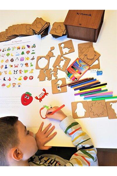 133 Parça Eğitici Ahşap Çizim, Eşleştirme Ve Boyama Blokları