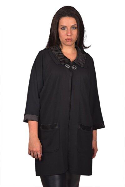 Siyah Baskılı Büyük Beden Kadın Ceket Ult565
