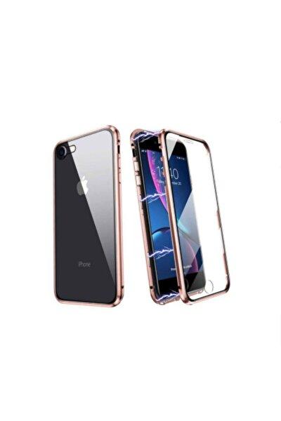 Iphone Se 2020 360 Ön Arka Camlı Magnetic Metal Kılıf - Gold