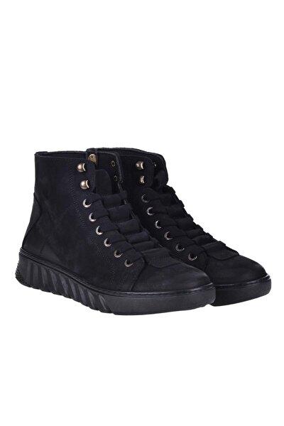 210020 Siyah %100 Deri Kışlık Erkek Bot Ayakkabı