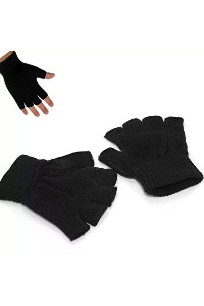Siyah Unisex Parmaksız Kesik Yarım Parmak Kışlık Örme Triko Eldiven