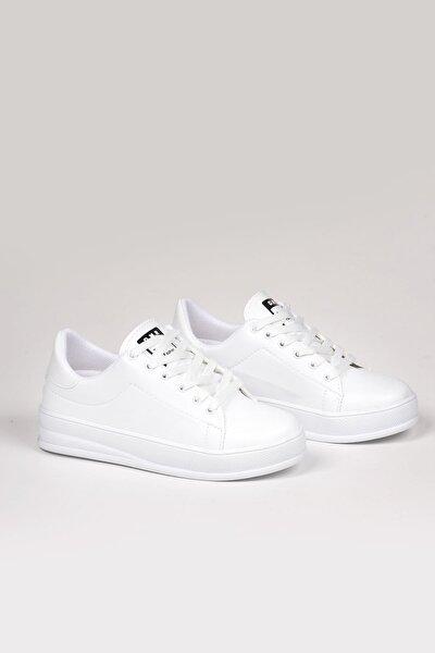 Kadın Beyaz Bağcıklı Deri Spor Ayakkabı Ba18018