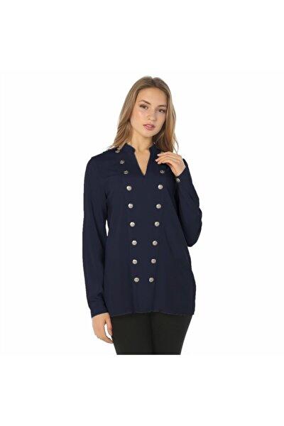 Kadın Lacivert Düğme Bluz - Bga853312