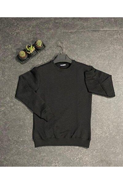 Siyah Erkek Uzun Kollu Bisiklet Yaka Basic Sweatshirt