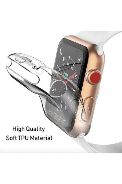 Apple Watch 44 Mm Uyumlu Şeffaf Silikon Kılıf 44mm Watch Tam Koruma Koruyucu Koruyucu 44 Mm Şeffaf