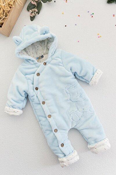Ayıcık Figürlü Welsoft Mavi Peluş Astronot Erkek Bebek Tulum