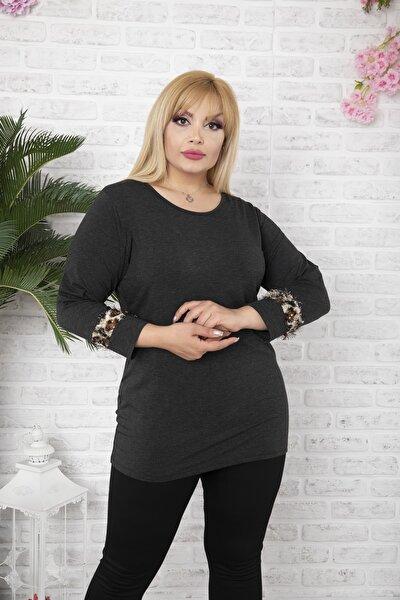 Kadın Büyük Beden Siyah Kolları Tüylü Kazak