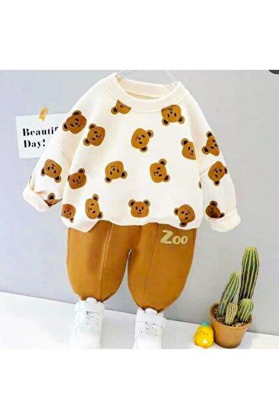 Bebek Takım Zoo Baskılı Ayıcık Desenli