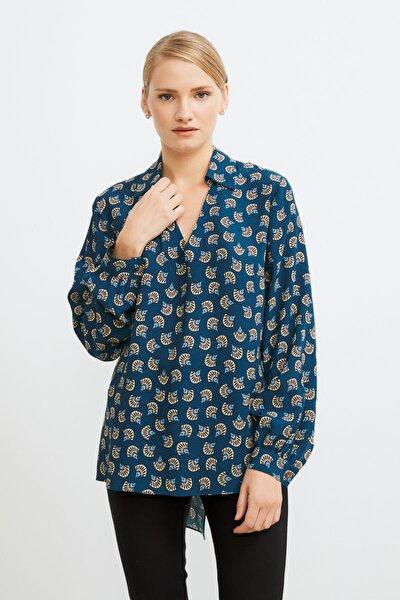 Kadın Desenli Petrol Gömlek Yaka Desenli Bluz