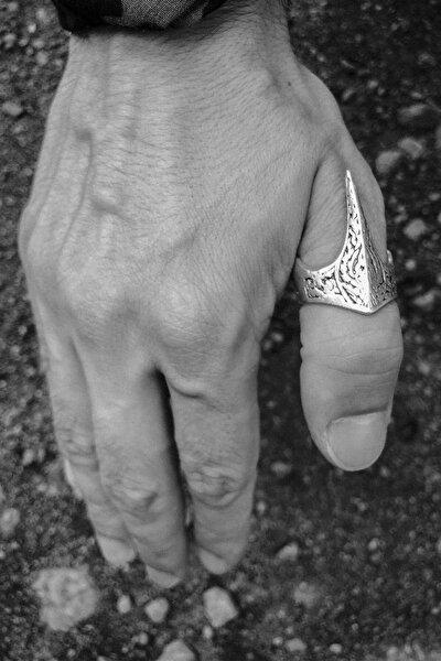 Okçu Yüzüğü Motorcu Tarzı Ayarlanabilir Erkek Yüzük