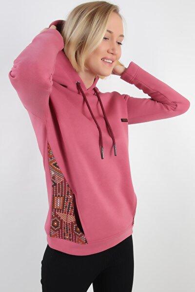 Yanları Detaylı Kapüşonlu Sweatshirt, Gül Kurusu (B20-136703)