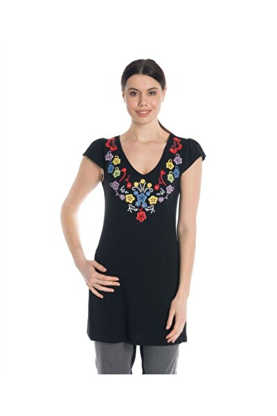 Kadın Siyah Uzun Tişört - Bga584701