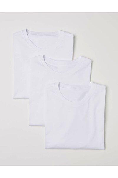 3' Lü Paket Klasik 7/24 Vazgeçilmez Basic Düz Beyaz Tişört