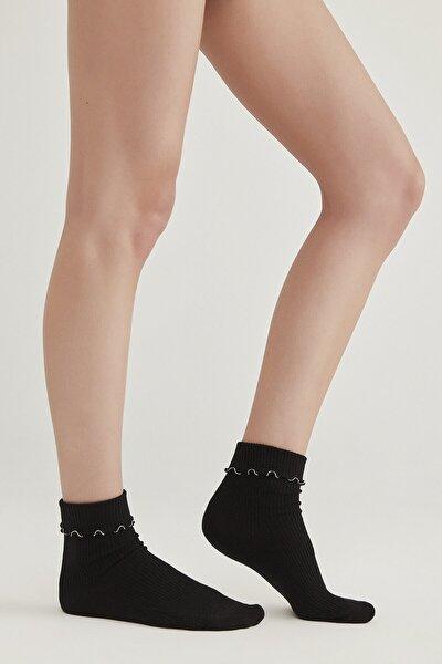 Siyah Çizgili Soket Çorap