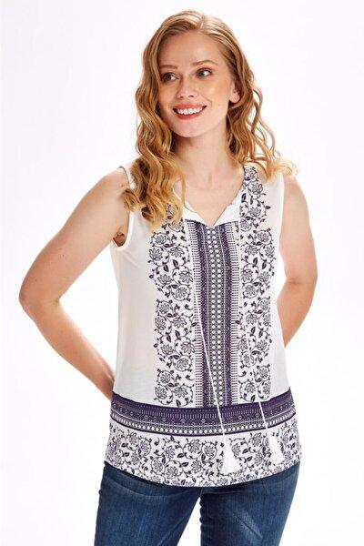 Kadın Beyaz Yakası Püskül Kordonlu Baskılı Bluz  020-1041