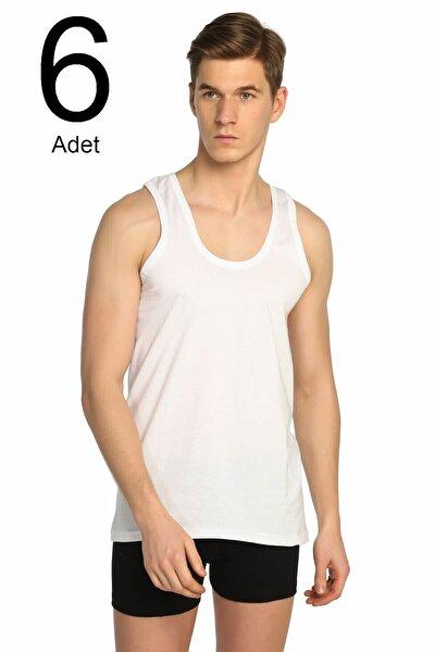 Erkek Beyaz 6'lı Paket Klasik Atlet Elf568t0101ccm6
