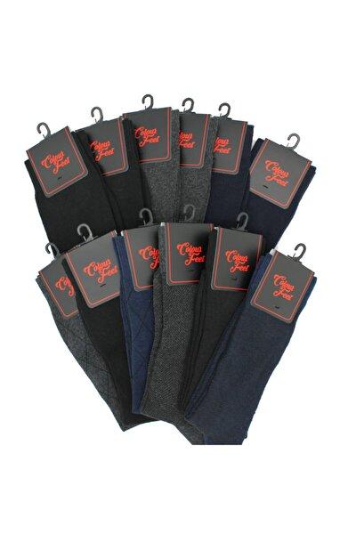 Erkek Siyah Gri Lacivert Çorap 12'li Paket