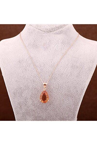Kadın Renk Değiştiren Sultan Taşlı Rose Gümüş Kolye 3624