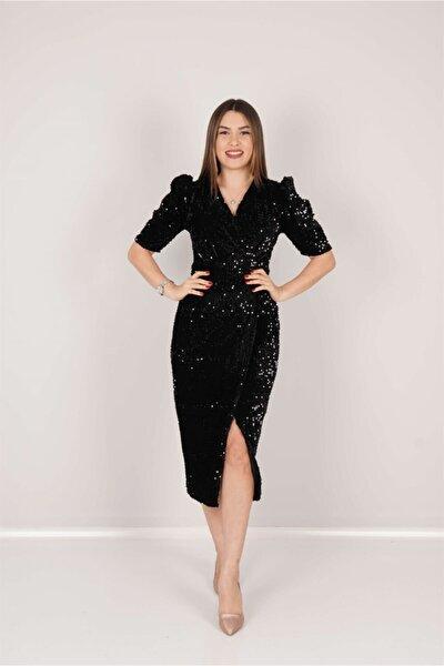 Kadife Payet Ceket Elbise - Siyah