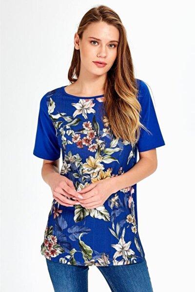 Kadın Mavi Kısa Kol Önü Desenli Bluz 019-04-1076