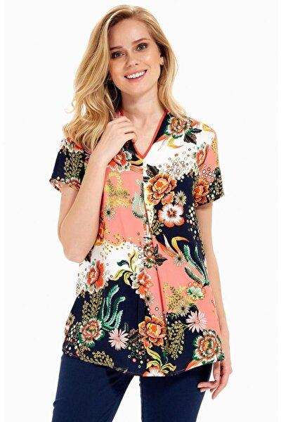 Kadın Multi Colour Kısa Kol Desenli Bluz