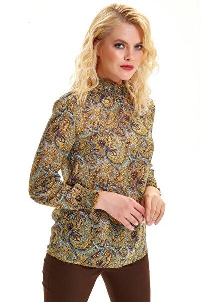 Kol Ve Yakası Lastikli Şal Desen Şifon Bluz 201-3007