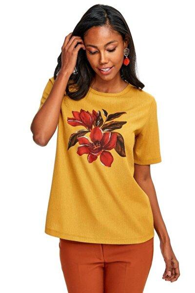 Kadın Sarı Yarım Kollu Önü Baskılı Bluz 020-1005