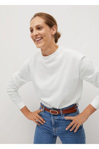 Kadın Beyaz Uzun Kollu Pamuklu Tişört