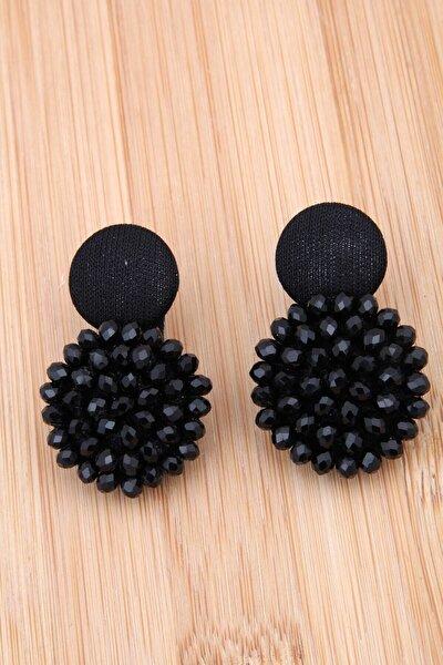 Siyah Kristalli Tasarım Düğme Küpe