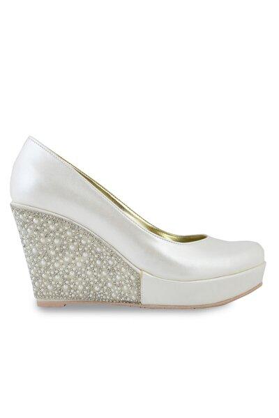 Kadın Platformlu Taşlı Kısa Dolgu Topuk Abiye Ayakkabı