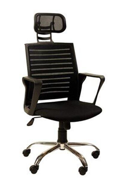 Bilgisayar Makam Müdür Koltuk Koltuğu Sandalyesi Tekstil Siyah Krom Ayak