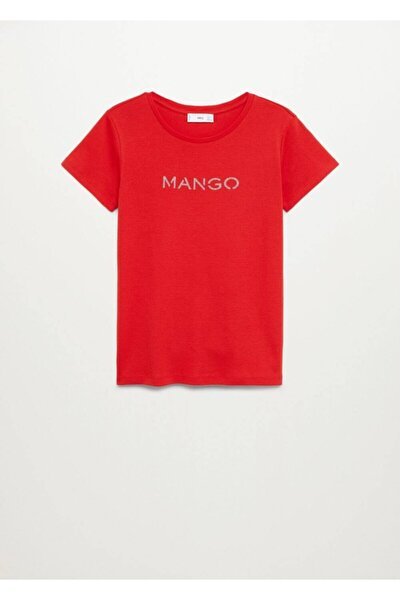 Kadın Kırmızı Organik Pamuklu Logolu Tişört