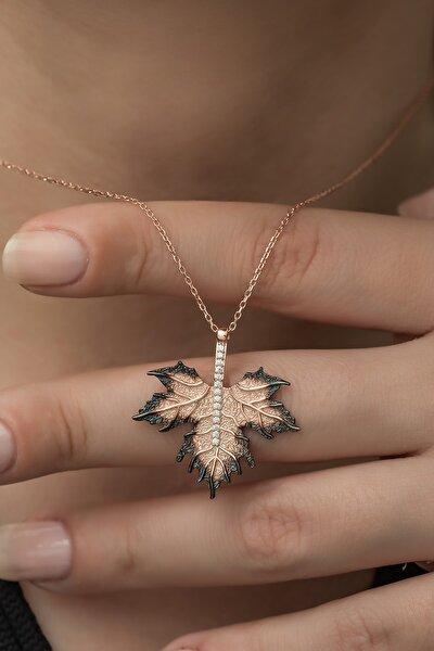Kadın 925 Ayar Gümüş Çınar Yaprağı Kolye