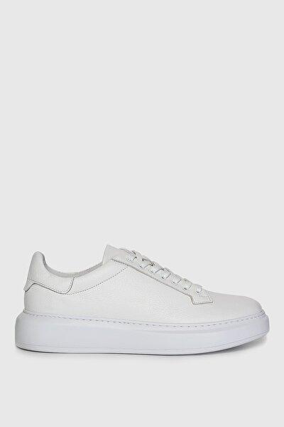Plaın Deri Sneaker Beyaz