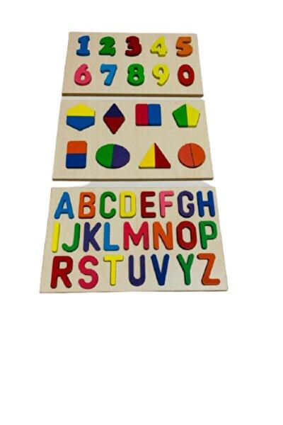 Ahşap Harfler Geometrik Şekiller Ve Rakamlar Eğitici Puzzle