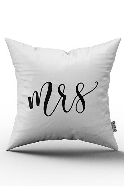 Mrs. Kadın Dijital Baskılı Kırlent Yastık Kılıfı - Beyaz