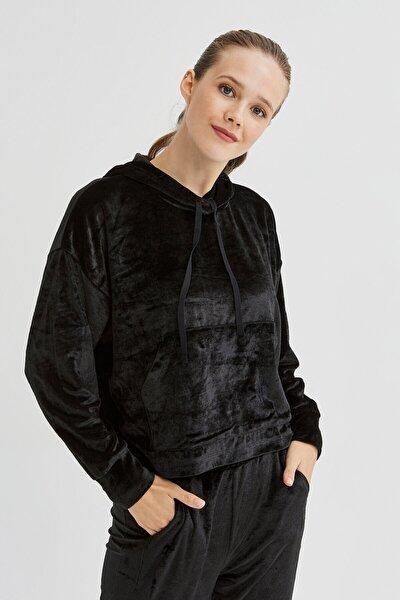 Siyah Velvet Sweatshirt