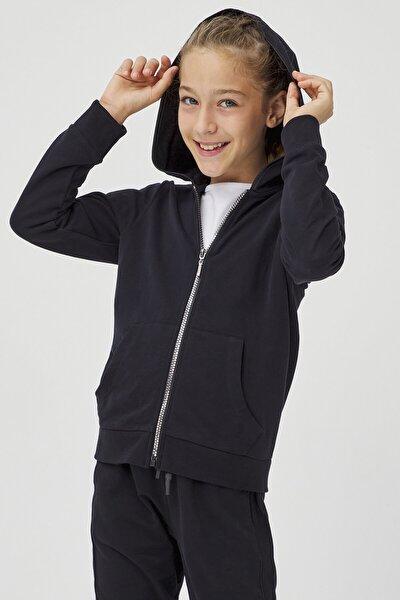 Siyah Kız Çocuk Hooded Sweatshirt