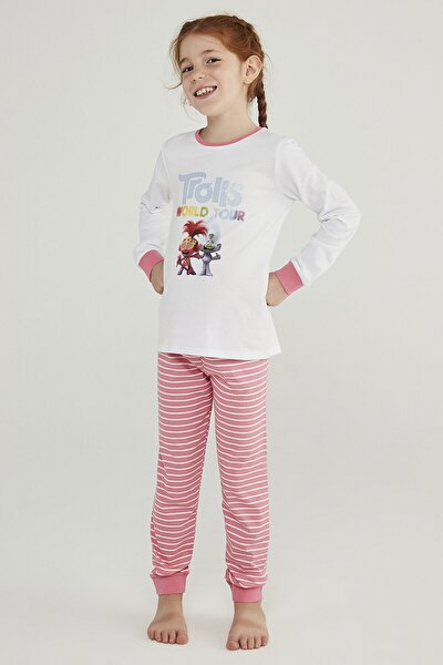 Çok Renkli Kız Çocuk Trolls Glıtter 2li Pijama Takımı