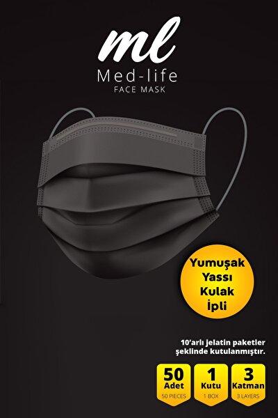 Med-lıfe Siyah Telli Cerrahi 3 Katlı Maske 50 Adet