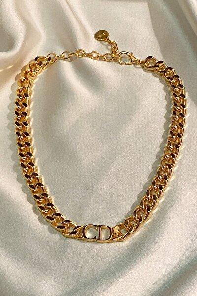 Kadın Gold Harfli Kalın Zincir Kolye
