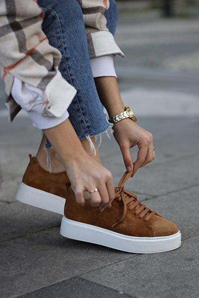 Kadın Hakiki Süet Deri Taba Sneaker