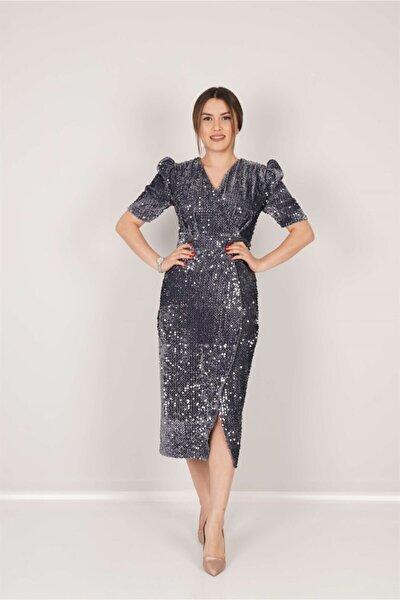 Kadife Payet Ceket Elbise - Gri