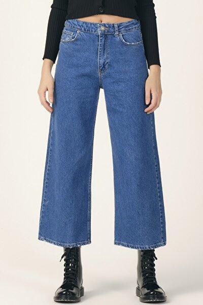 Kadın Mavi Wide Leg Kalıp Bol Paça Jean