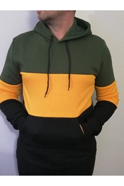 Üç Renk Kapüşonlu Sweatshirt