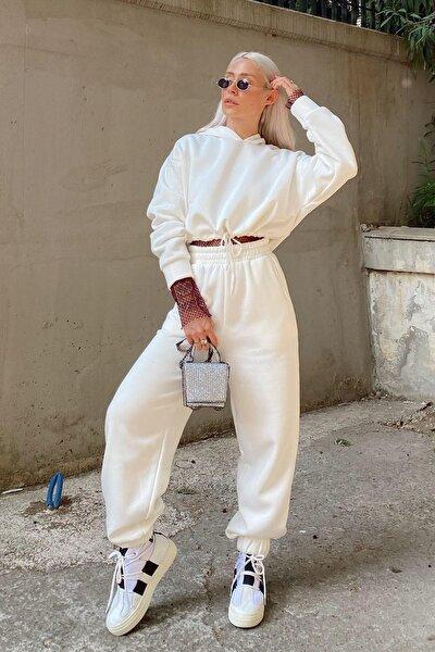 Kapüşonlu Içi Pamuklu 3 Iplik Eşofman Takımı Beyaz