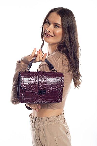 Aynı Butikte 2. Ürün 1 TL Bordo Kroko Kadın Kapaklı Metal Aksesuarlı Omuz Çantası