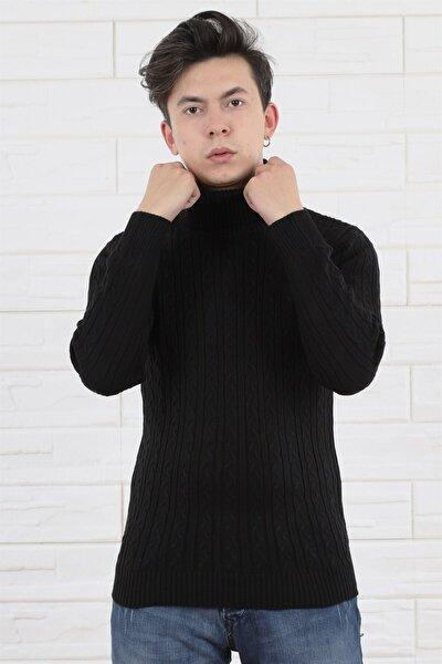Erkek Balıkçı Yaka Örme Slim Fit Siyah Triko/kazak